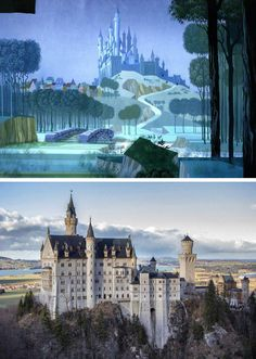 The royal castle from Sleeping beauty was based on Neuschwanstein castle in Bavaria, Germany.