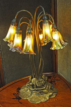 This ten-light Lily lamp is shown by Ophir Gallery, of Englewood, N.J. who specializes in Art Nouveau.