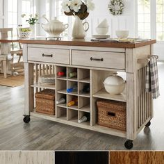 Eleanor Two-Tone Rolling Kitchen Island with Wine Rack by iNSPIRE Q Classic | Overstock.com Shopping - The Best Deals on Buffets