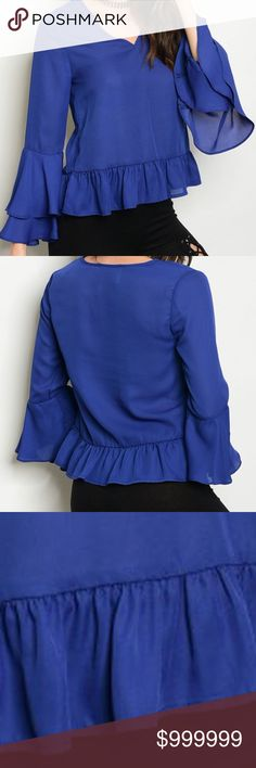 COMING SOON: Blue Bell Sleeve Ruffle Top Blouse COMING SOON: LIKE FOR ARRIVAL NOTIFICATION  Long sleeve chiffon top with ruffled bell sleeves and a v neckline. 100% polyester golden threads Tops