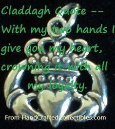 Irish Claddagh Quote, Irish Claddagh charm. CallahanWriter.com