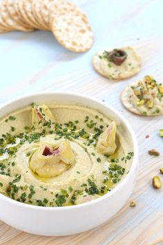 Artichoke hummus (Photo: Feed yourself) Veggie Recipes, Vegetarian Recipes, Cooking Recipes, Healthy Recipes, Chutney, Healthy Food Alternatives, Healthy Afternoon Snacks, Sandwiches, Food Porn