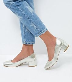 Silver Leather-Look Block Heel Court Shoes