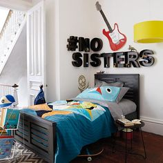 "Kids Wall Decor: Metal Hanging Wall Letters in Hanging Décor | The Land of Nod I think I would like this in the downstairs ""Lil' ManCave"""