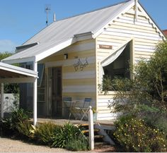 Cute little Beach Huts you can stay in for your holiday getaway in Middleton, South Australia. Beach Shack, Beach Huts, Cool Sheds, Little Houses, Tiny Houses, Shepherds Hut, House By The Sea, South Australia, Seaside