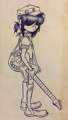 Gorillaz - Noodle by ElFelinoAzul on DeviantArt Gorillaz Noodle, Gorillaz Art, Drawing Reference Poses, Art Reference, Arte Emo, Good Anime To Watch, Monkey Art, Percy Jackson Art, Seven Deadly Sins Anime