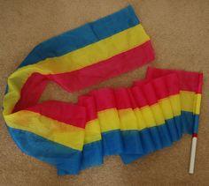 Tri-Color Extra Wide Dance Steamer Worship Flag Flying Ribbon Praise Dance #Pro_dance
