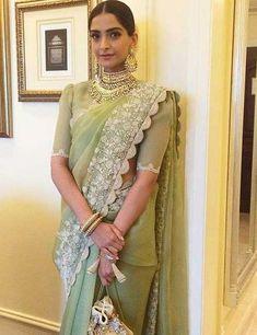 50 Latest Saree Blouse Designs From 2017 That Are Sure To Amaze You Sari Design, Blouse Back Neck Designs, Anamika Khanna, Fancy Sarees, Party Wear Sarees, Sonam Kapoor, Anarkali, Pattu Saree Blouse Designs, Latest Saree Blouse Designs