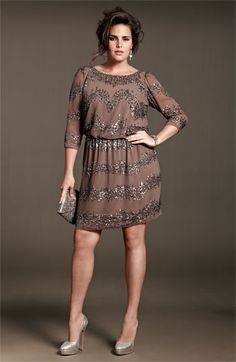 #Adrianna Papell Beaded Dress  outfit women #2dayslook #new fashion #outfitstyle  www.2dayslook.com