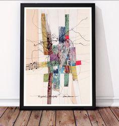 Limited art print af Ditte Sørensen: Frihåndsbroderi på symaskine, fototransfer, quiltet