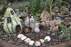 Fairy Garden ~ like the painted gourd