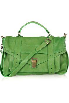 Proenza Schouler's green leather satchel $1595       SOOOOOOO Pretty!