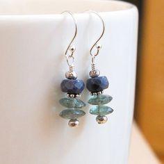 Moss Aquamarine Blue Sapphire Earrings Sterling Silver by DJStrang