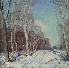 "Emile Gruppe ""Winter Landscape"" Oil on canvas Signed (l.l.) 13.5 x 13.5 inches"