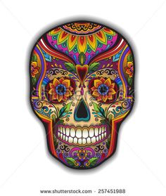 Print mexican traditional skull for T-shirt with floral ornament