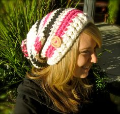 Cream / Pink / Black Crochet Slouchy Hat  by uniquelyyourscouture, $18.00