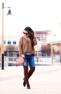 cute & little | petite fashion blog | choker sweater, logo belt, stuart weitzman lowland otk boots, gucci soho disco bag | spring outfit