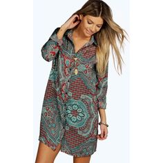 Boohoo Dora Paisley Pleat Back Shirt Dress (1,200 INR) ❤ liked on Polyvore featuring dresses, paisley day dress, paisley shirt dress, paisley pattern dress, shirt dress and t-shirt dresses
