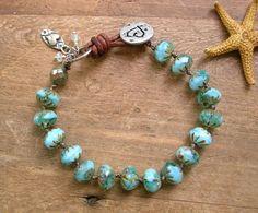 Aqua knotted bracelet  Summer Fling  Boho beach door 3DivasStudio, $43.00