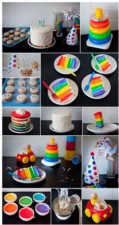 Bright, bold, polka dots and stripes birthday theme! Links to the free printable hats & pinwheels, & cake making tips are on the site: heatherwoodsphoto...