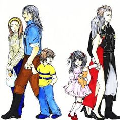 Final Fantasy VIII  運命を」/「いちご」のイラスト [pixiv] oh my gosh this has got to be one of my favorite fan arts of all time!!!! Squall with his mommy and daddy and Rinoa with hers!!! Aaaahhhh