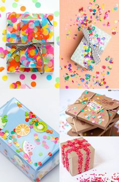 A round up of some fun and easy confetti wrapped gifts! Because confetti wrapping is just plain adorable.