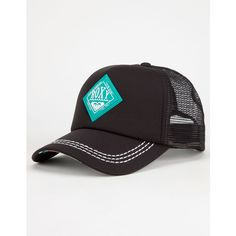 Roxy Racy Womens Trucker Hat featuring polyvore, fashion, accessories, hats, black, black snap back hat, roxy hat, snapback trucker hats, black trucker hat and palm leaf hats