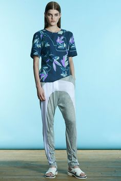 Richard Chai Love | Resort 2015 | 19 Blue floral short sleeve top and white/grey sweatpants