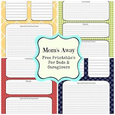 Free Time Frolics: Moms Away Free printable for Dads & Caregivers #printables #charts #organization