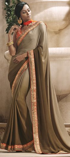 154795: COPPER HUE - check out this partywar #saree for new brides. Order now! free shipping #IndianFashion #OnlineShopping