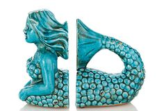 Ceramic Mermaid Bookends on OneKingsLane.comPinned by #conceptcandieinteriors #girly