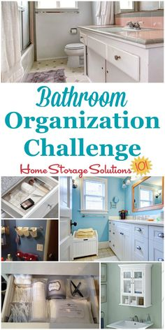 Whether your bathroom is big or small, bathroom organization is key to making the space functional and pleasant. Here are step by step instructions for this week's challenge to make it work for you {part of the 52 Week Organized Home Challenge on Home Sto Bathroom Counter Organization, Bathroom Storage Solutions, Home Organization Hacks, Organizing Your Home, Closet Organization, Organizing Ideas, Organizers, Cleaning Tips, Challenge