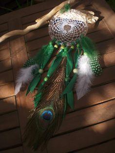Dream Catcher blanc et vert avec son Arbre de Vie. : Décorations murales par facreation