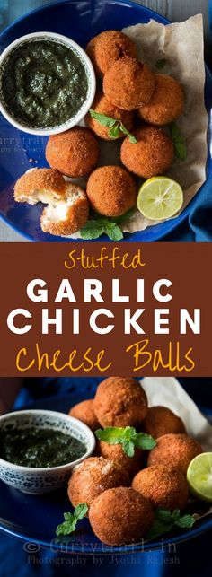 Cheesy garlic chicken balls are easy to make can be baked as well. Can be served as a snack or appetizer. Served with spicy mint chutney its a crowd pleaser and amazing party finger food. Best Appetizer Recipes, Appetizers For Party, Indian Food Recipes, Party Recipes, Dip Recipes, Recipies, Food For Chickens, Chutney, Nibbles For Party