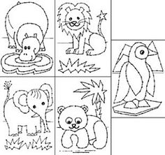 Borduurkaarten - wilde dieren Paper Embroidery, Vogue Kids, Fun Activities For Kids, Toddler Crafts, Diy Cards, Diy For Kids, Hand Stitching, Zentangle, Safari