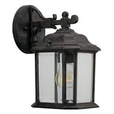Illuminate your patio and porch with this attractive wall lantern which will make your outdoor living space not only beautiful at night also security. Lantern Post, Outdoor Wall Lantern, Outdoor Wall Sconce, Outdoor Wall Lighting, Outdoor Walls, Exterior Light Fixtures, Outdoor Light Fixtures, Exterior Lighting, Beveled Glass
