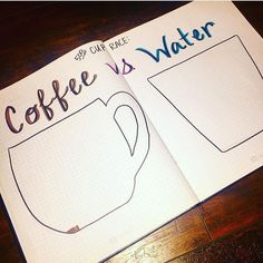 Instead of coffee do water vs pop. Sketch Journal, Journal Design, My Journal, Journal Pages, Journal Ideas, Bullet Journal Notebook, Bullet Journal Layout, Bullet Journal Inspiration, Bullet Journals