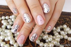 Pink and Silver Bling Nails