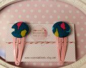 Cute bird hair clips -Handmade Girls' Accessories by RosieReddCheeks on Etsy