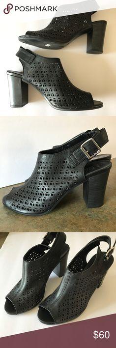 Bella Vite Italy laser cut leather peep toe heels Worn once, indoors. Bella Vita leather peep toe heels. Soft and supple leather.  Size 8. Bella Vita Shoes Heels