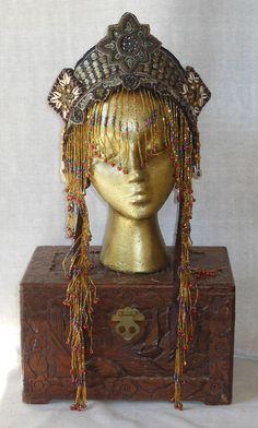 Tribal Fusion Belly Dance Goddess Queen Princess Fantasy Eygption Bohemian Crown Headdress Headpiece Tiara Ooak