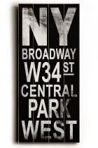 NY Broadway Transit Sign Wall Plaque