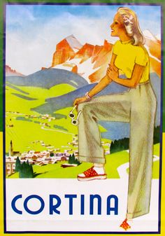 Vintage Italian Travel Posters женшина смотрит горный пейзаж изветной кортини. Woman admires landscape of Cortina's moutains, postcard from early 20th century.