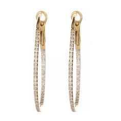 Diamond Oval Hoop Earrings in Yellow Gold ($745) ❤ liked on Polyvore featuring jewelry, earrings, accessories, gold earrings, 14k yellow gold earrings, diamond hoop earrings, 14k diamond earrings and 14k earrings