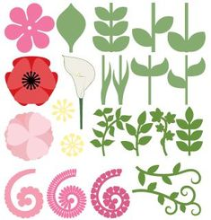 FREE SVG + cut files 23 piece Flowers and Leaves set. Rolled Paper Flowers, Paper Leaves, Felt Flowers, Diy Flowers, Poppy Template, Leaf Template, Flower Template, Templates, Flower Svg