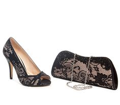 Cute black lace shoe with hand bag to match for the perfect evening.
