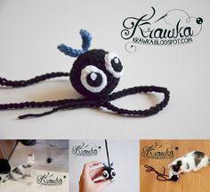 FLY crochet cat toy free pattern by Krawka