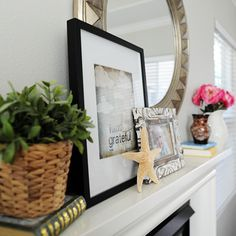 Update your mantle in a flash with a few new frames to add amazing shape and texture to your space.  #homegoodshappy #happybydesign #sponsored