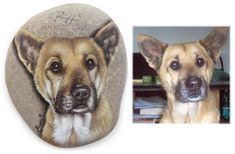 Lasse's portrait - acrylic on rock - cm. 12 | Dog Rock Portraits on Commission by Roberto Rizzo | www.robertorizzo.com