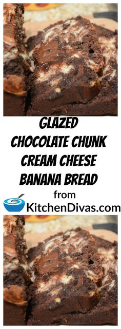 Glazed Chocolate Chunk Cream Cheese Banana Bread is even better then Glazed Chocolate Chunk Banana Bread! The cream cheese swirl is so delicious and makes the original recipe even better! This tastes as good as it looks. With or without the glaze. You will make it over and over again!